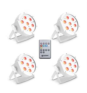 Cameo FLAT PAR CAN TRI 3W IR WH SET Set of 4 PAR lights 7 x 3 W incl remote