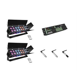 Eurolite Set 2x StagePanel16, ColorChief QuickDMX transmitter & 2x receiver
