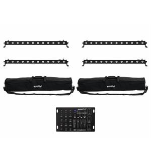 Eurolite Set 4x LED BAR-12 QCL RGBA & 2x Soft Bags & Controller