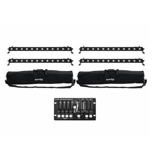 Eurolite Set 4x LED BAR-12 QCL RGBW & 2x Soft Bags & Controller