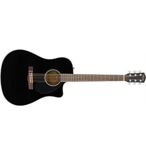 Fender CD-60SCE Dreadnought Black, Walnut Fingerboard