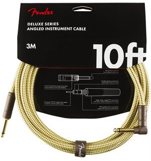 Fender Deluxe Series Instrument Cable Straight/Angle, 10'/3m, Tweed