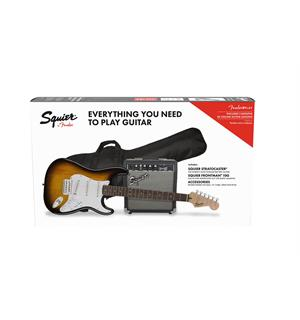 Squier Stratocaster Pack Brown Sunburst, Gig Bag, 10G