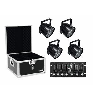 Eurolite Set 4x LED PAR-56 HCL black & Case & Controller