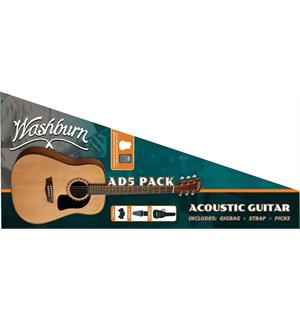 Washburn Guitars AD5PACK Apprentice Pack D5 natural, gigbag, strap, picks