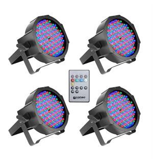 Cameo FLAT PAR CAN RGB 10 IR SET - Set of 4 PAR Spots 144 x