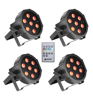 Cameo FLAT PAR CAN TRI 3W IR SET - Set of 4 PAR lights 7 x 3